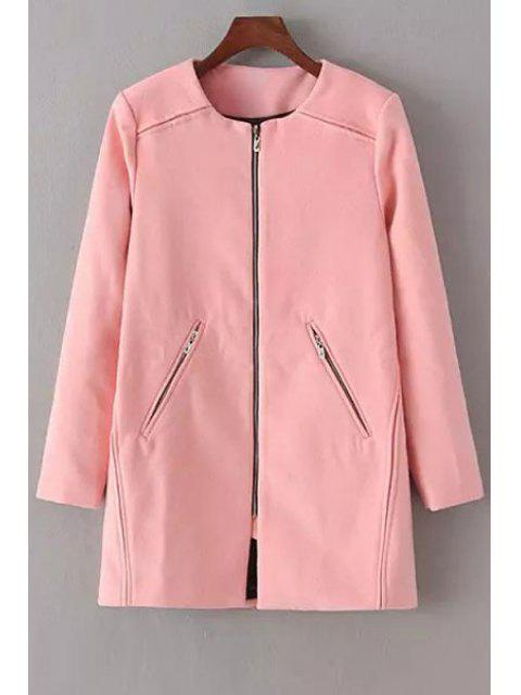 new Pure Color Round Neck Long Sleeve Woolen Coat - PINK L Mobile