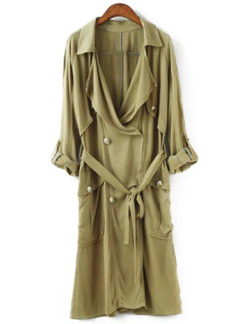 women's Big Pocket Self-Tie Belt Trench Coat - GREEN S Mobile