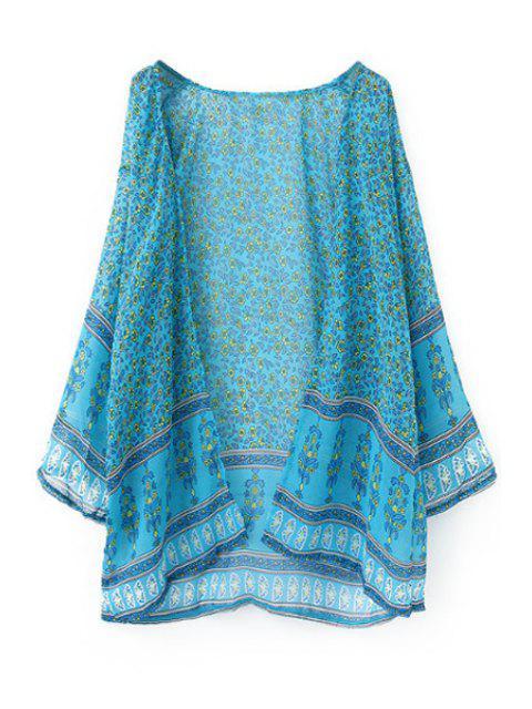 buy Tiny Floral Print Chiffon Long Sleeve Blouse - LAKE BLUE XL Mobile