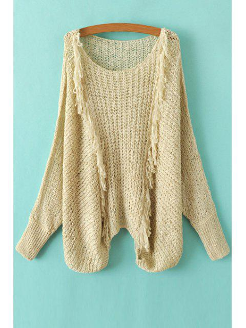 affordable Tassel Splicing Openwork Long Sleeve Sweater - KHAKI ONE SIZE(FIT SIZE XS TO M) Mobile
