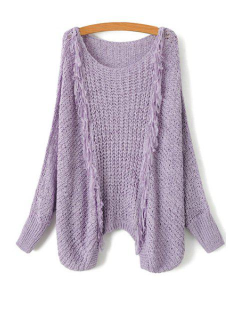 buy Tassel Splicing Openwork Long Sleeve Sweater - PURPLE ONE SIZE(FIT SIZE XS TO M) Mobile