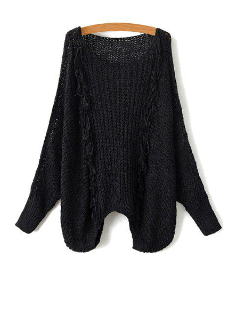 womens Tassel Splicing Openwork Long Sleeve Sweater - BLACK ONE SIZE(FIT SIZE XS TO M) Mobile