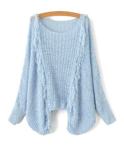 women Tassel Splicing Openwork Long Sleeve Sweater - LIGHT BLUE ONE SIZE(FIT SIZE XS TO M) Mobile