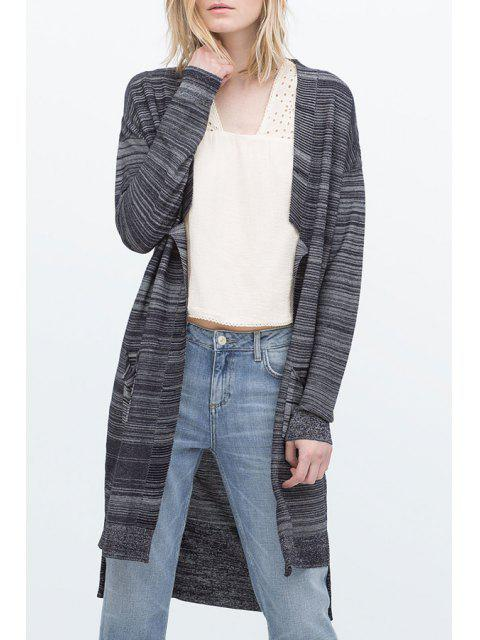 women Open Front Two Pockets Long Cardigan - GRAY M Mobile