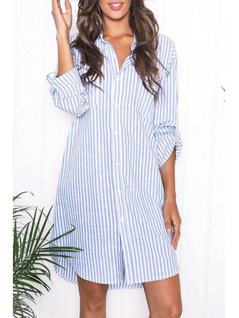 buy Blue Stripes Turn Down Collar Long Sleeve Shirt - AZURE L Mobile
