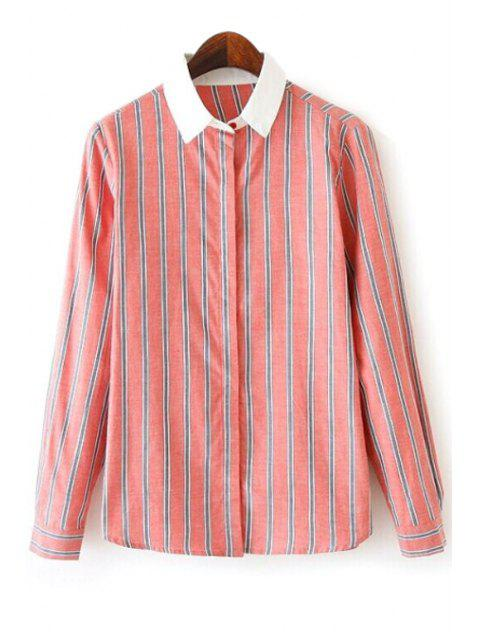 women Stripes Color Block Long Sleeve Shirt - ORANGEPINK S Mobile