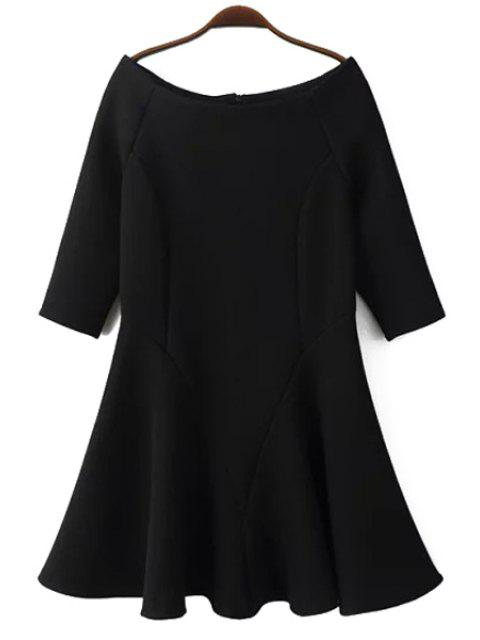 best Slash Neck Fit and Flare Dress - BLACK L Mobile