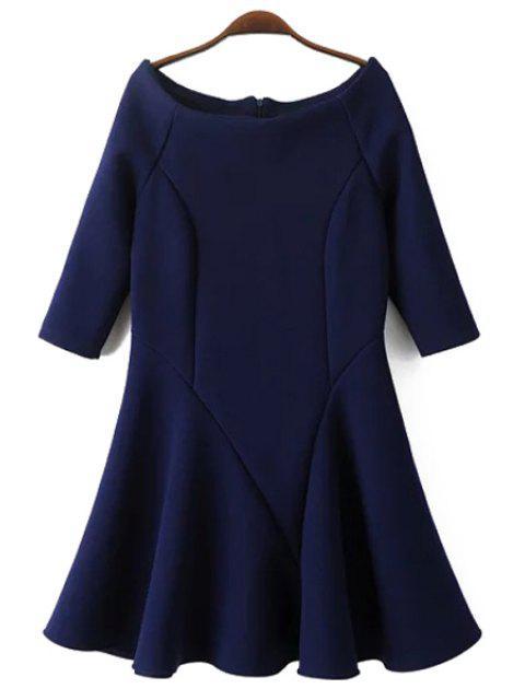 hot Slash Neck Fit and Flare Dress - CADETBLUE L Mobile