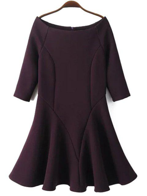 chic Slash Neck Fit and Flare Dress - PURPLISH RED M Mobile