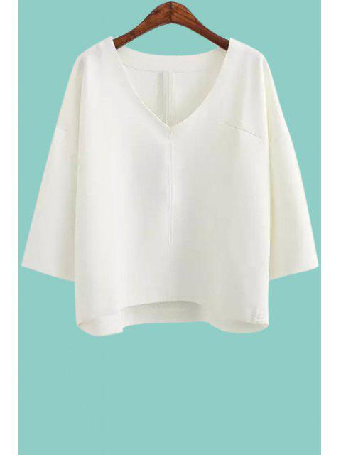 trendy V-Neck Solid Color 3/4 Sleeve T-Shirt - WHITE ONE SIZE(FIT SIZE XS TO M) Mobile