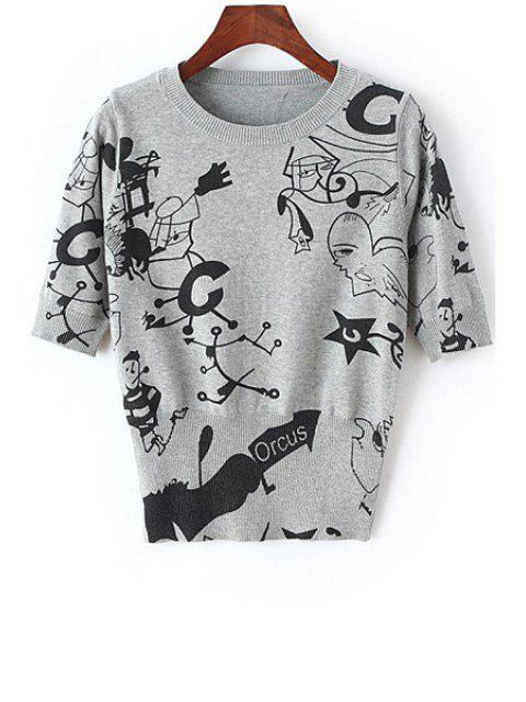 women's Black Cartoon Print Short Sleeve Sweater - GRAY ONE SIZE(FIT SIZE XS TO M) Mobile
