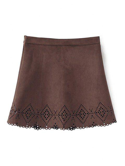 ladies Argyle Pattern Openwork Solid Color Skirt - COFFEE M Mobile