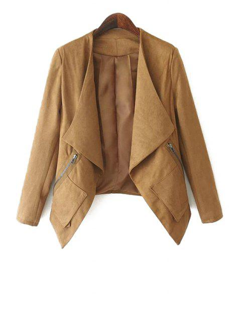 fancy Turn-Down Collar Solid Color Asymmetrical Coat - KHAKI S Mobile