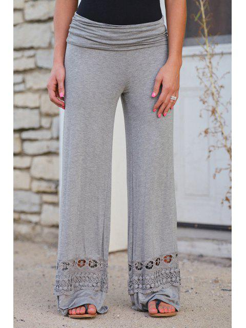 trendy Wide Leg Lace Spliced Pants - LIGHT GRAY L Mobile