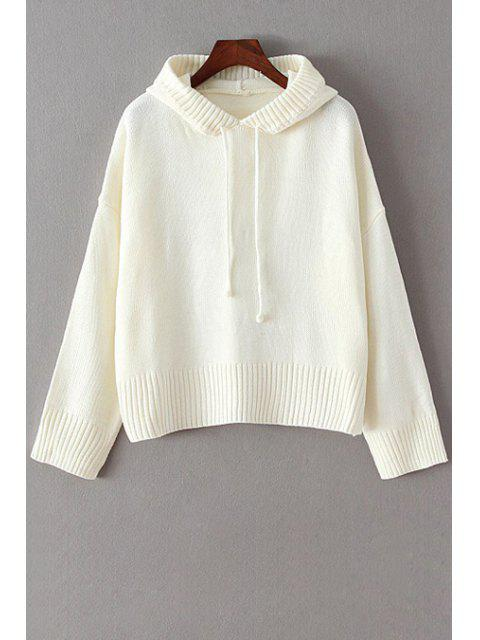 ladies Hooded Solid Color Long Sleeve Sweater - WHITE ONE SIZE(FIT SIZE XS TO M) Mobile