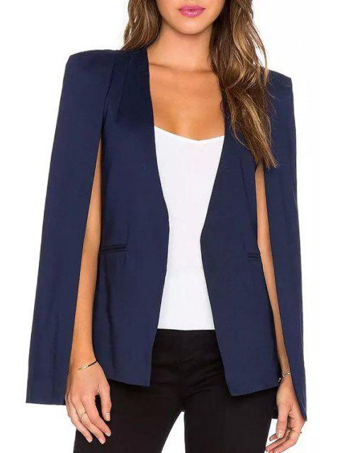 ladies Solid Color V Neck Blazer - PURPLISH BLUE L Mobile