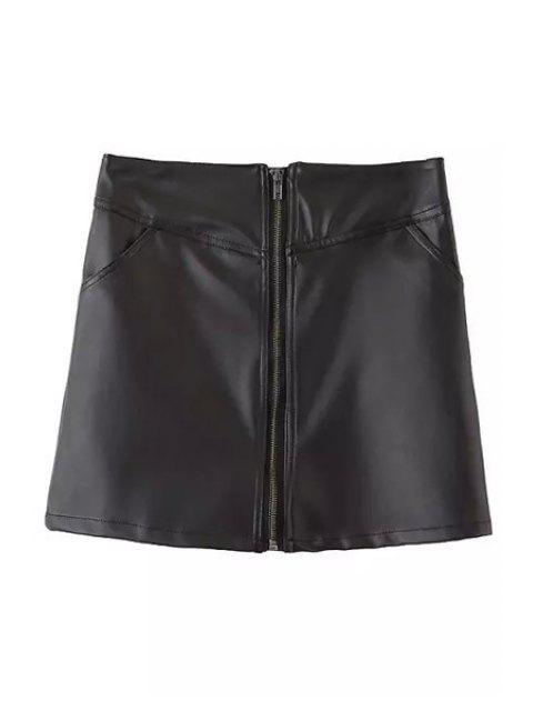 trendy Black A Line PU Leather Skirt - BLACK L Mobile