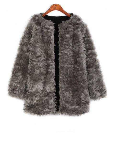 fancy Thicken Fleece Lined Flocking Faux Fur Coat - GRAY ONE SIZE(FIT SIZE XS TO M) Mobile