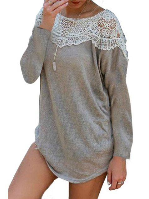 womens Scoop Neck Lace Splicing Openwork Long Sleeve Dress - GRAY S Mobile