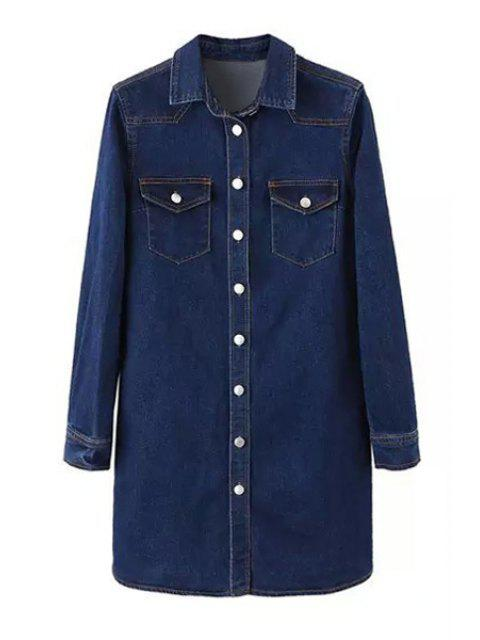 outfit Deep Blue Denim Turn Down Collar Long Sleeve Dress - DEEP BLUE L Mobile