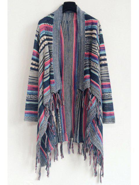 women Tassels Irregular Hem Jacquard Cardigan - BLUE ONE SIZE(FIT SIZE XS TO M) Mobile