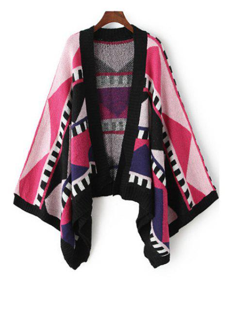 outfits Collarless Color Block Geometric Pattern Cardigan -   Mobile