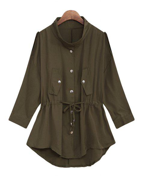 ladies Solid Color Stand Collar Waisted Chiffon Trench Coat - ARMY GREEN ONE SIZE(FIT SIZE XS TO M) Mobile
