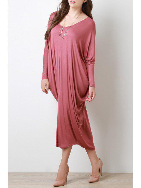 best Long Sleeve Baggy Style Dress - RED M Mobile