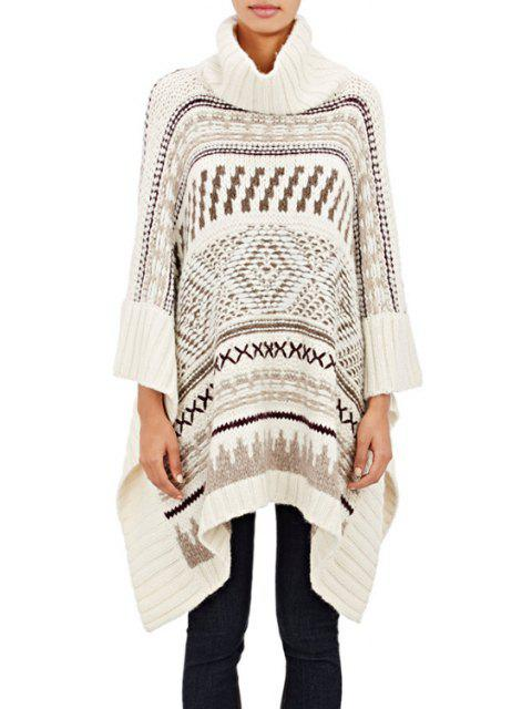 women's Turtle Neck Jacquard Cloak Sweater - WHITE ONE SIZE(FIT SIZE XS TO M) Mobile