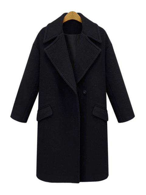 ladies Lapel Pocket Design Wool Coat - BLACK 5XL Mobile