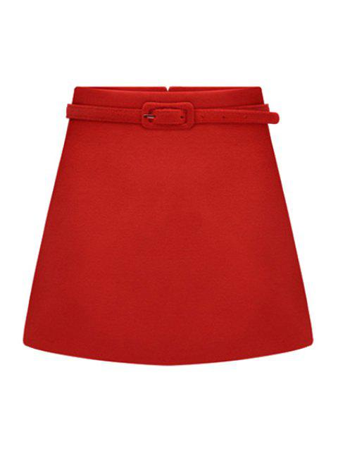 outfit Solid Color Belt Skirt - RED 2XL Mobile