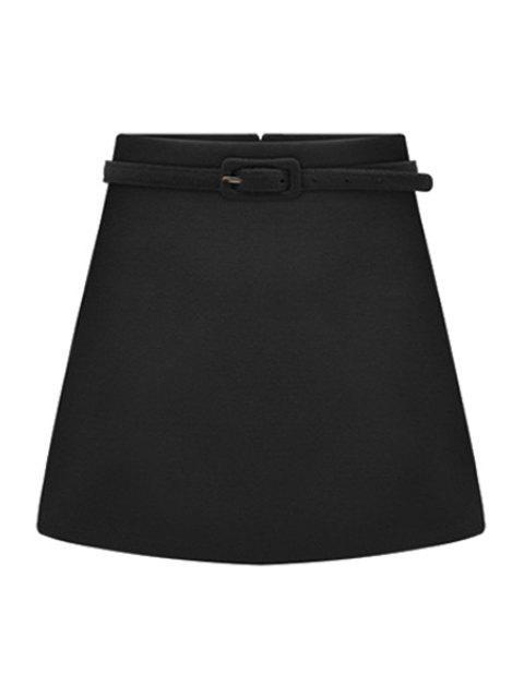 trendy Solid Color Belt Skirt - BLACK 2XL Mobile