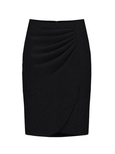 shops High-Waisted Ruched Midi Skirt - BLACK XL Mobile