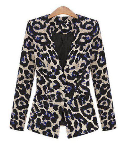 women One Button Leopard Plus Size Blazer - BLACK 3XL Mobile