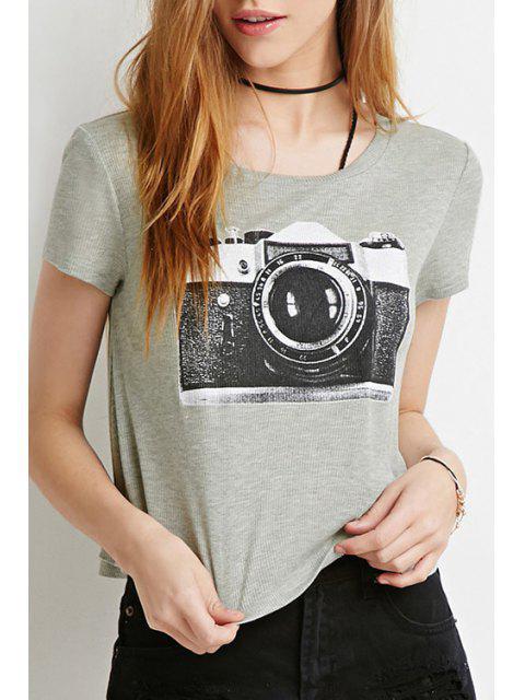T-shirt à manches courtes pour appareil photo - Gris L Mobile
