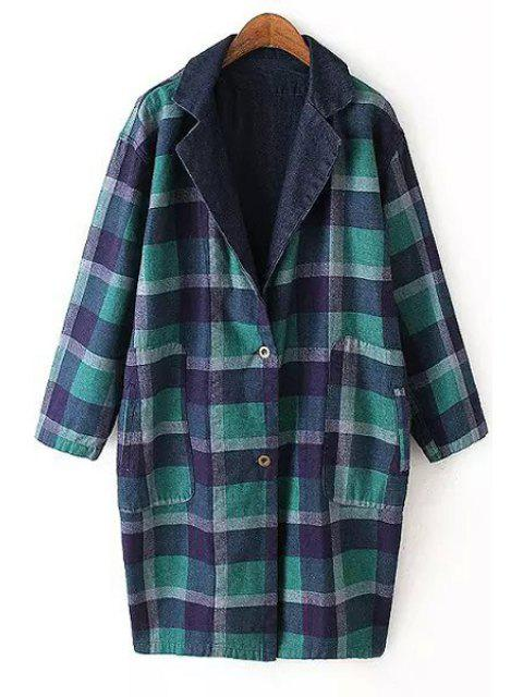 new Plaid Reversible Turn-Down Collar Trench Coat - BLUE AND GREEN L Mobile