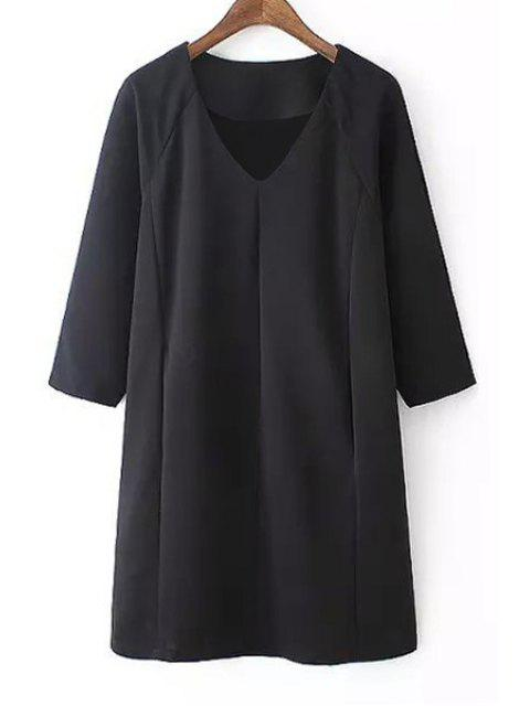online Black V Neck 3/4 Sleeve Dress - BLACK S Mobile