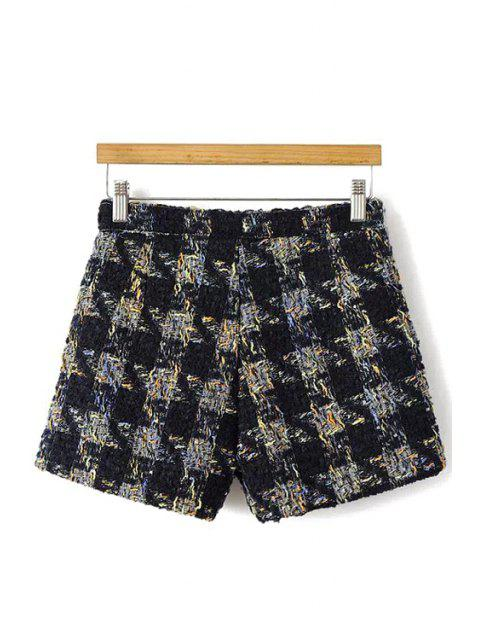 lady Houndstooth Pattern Fall Shorts - BLACK L Mobile