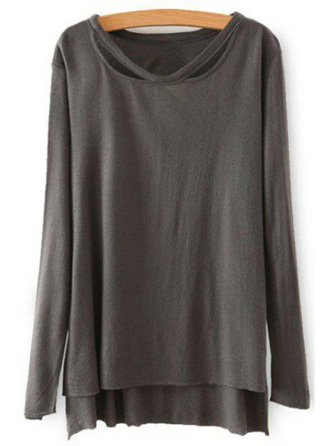 best Solid Color High Low Hem T-Shirt - GRAY S Mobile