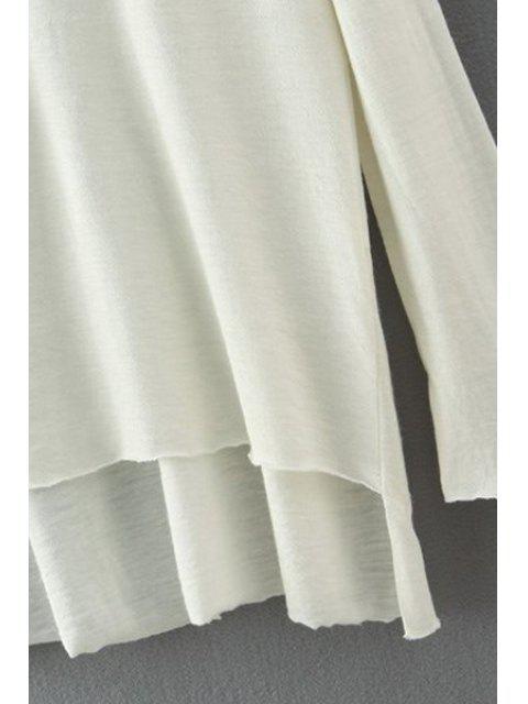 shop Solid Color High Low Hem T-Shirt - RED S Mobile