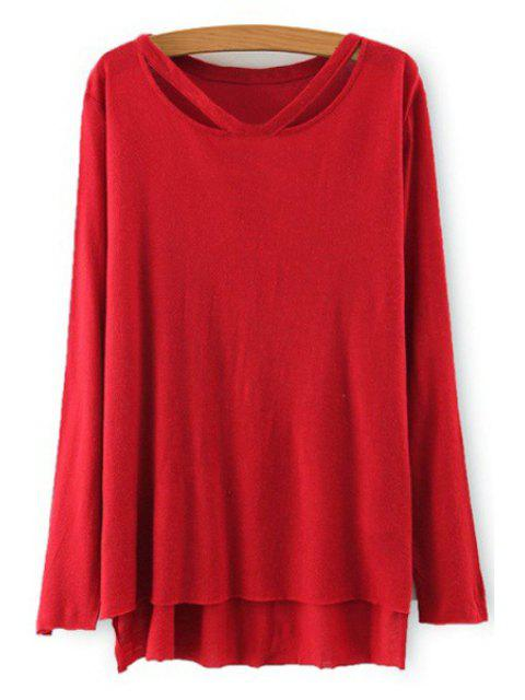 shop Solid Color High Low Hem T-Shirt - RED S Mobile