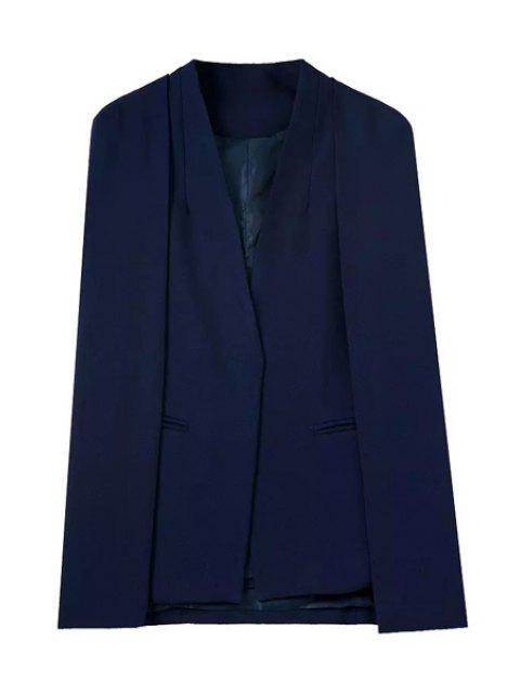 women Solid Color V-Neck Long Sleeves Cape Blazer - PURPLISH BLUE L Mobile