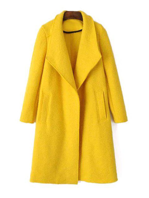 affordable Yellow Turn Down Collar Long Sleeve Coat - YELLOW M Mobile