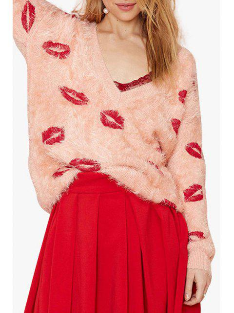 shops Plunging Neck Red Lips Pattern Long Sleeve Sweater - PINK L Mobile