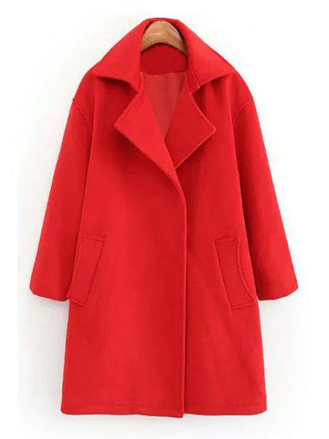 affordable Red Lapel Neck Long Sleeve Coat - RED S Mobile