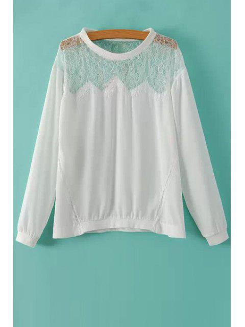 affordable See-Through Lace Spliced T-Shirt - WHITE S Mobile