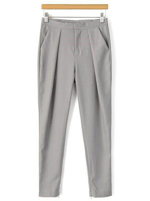 best Solid Color Narrow Feet Ninth Pants - GRAY L Mobile