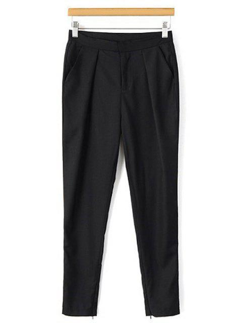 new Solid Color Narrow Feet Ninth Pants - BLACK M Mobile
