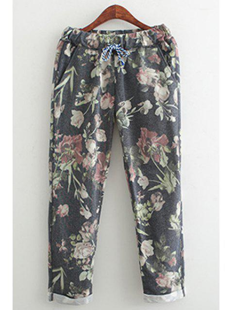 outfits Floral Elastic Waist Drawstring Pants - BLACK M Mobile