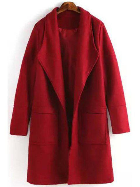 ladies Red Turn Down Collar Long Sleeves Coat - RED M Mobile